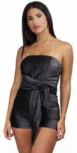 Be-All Trend-All Black Sparkle Lines Romper