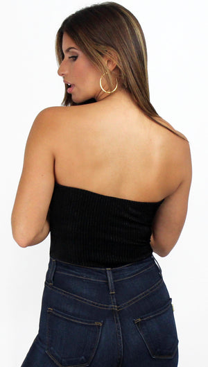 Love Black Shimmer Stripes Velvet Bodysuit