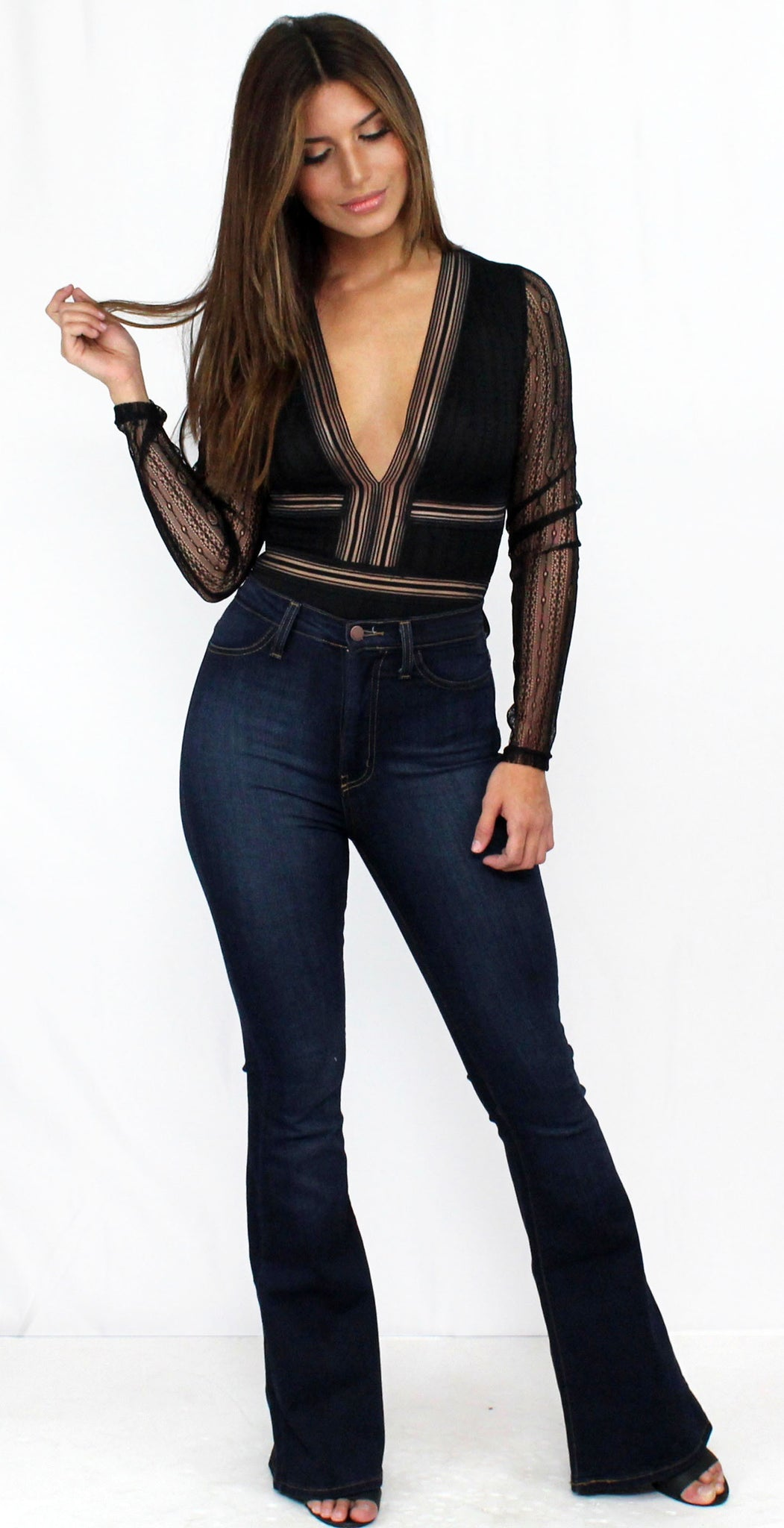Slay It with Lace & Me Black Bodysuit
