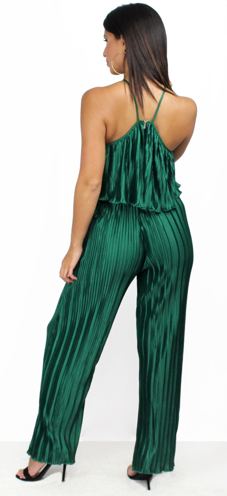 Très Chic Green Pleated Satin Two-Piece Set