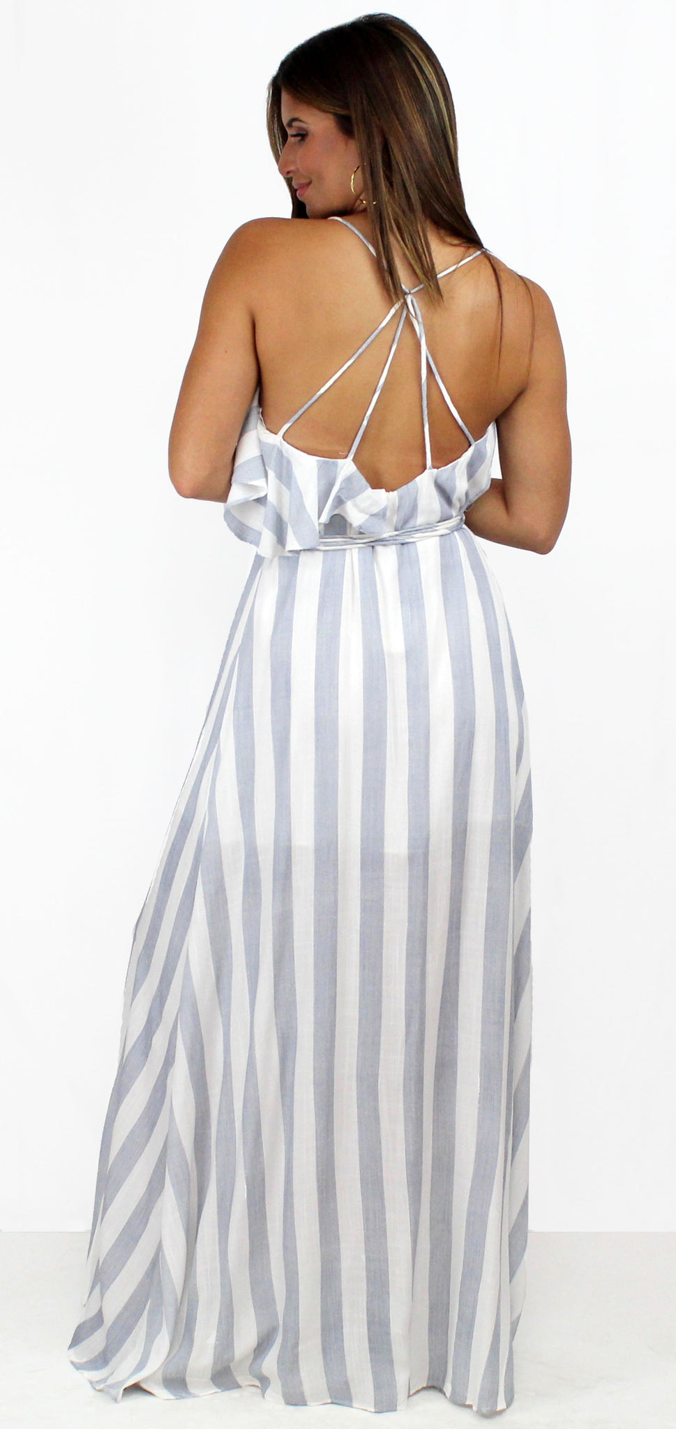 Fresh Blue & White Stripes Ruffles Maxi-Dress