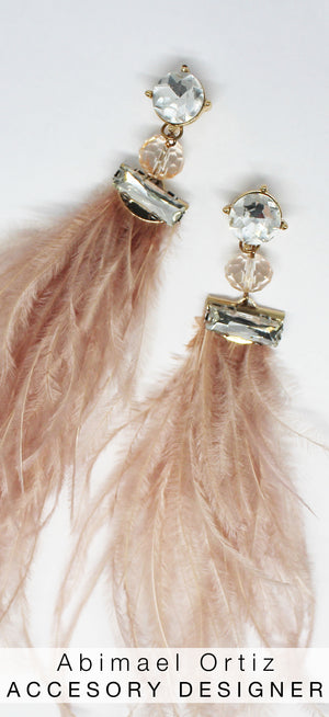 The Most Spectacular Blush Feather Earrings