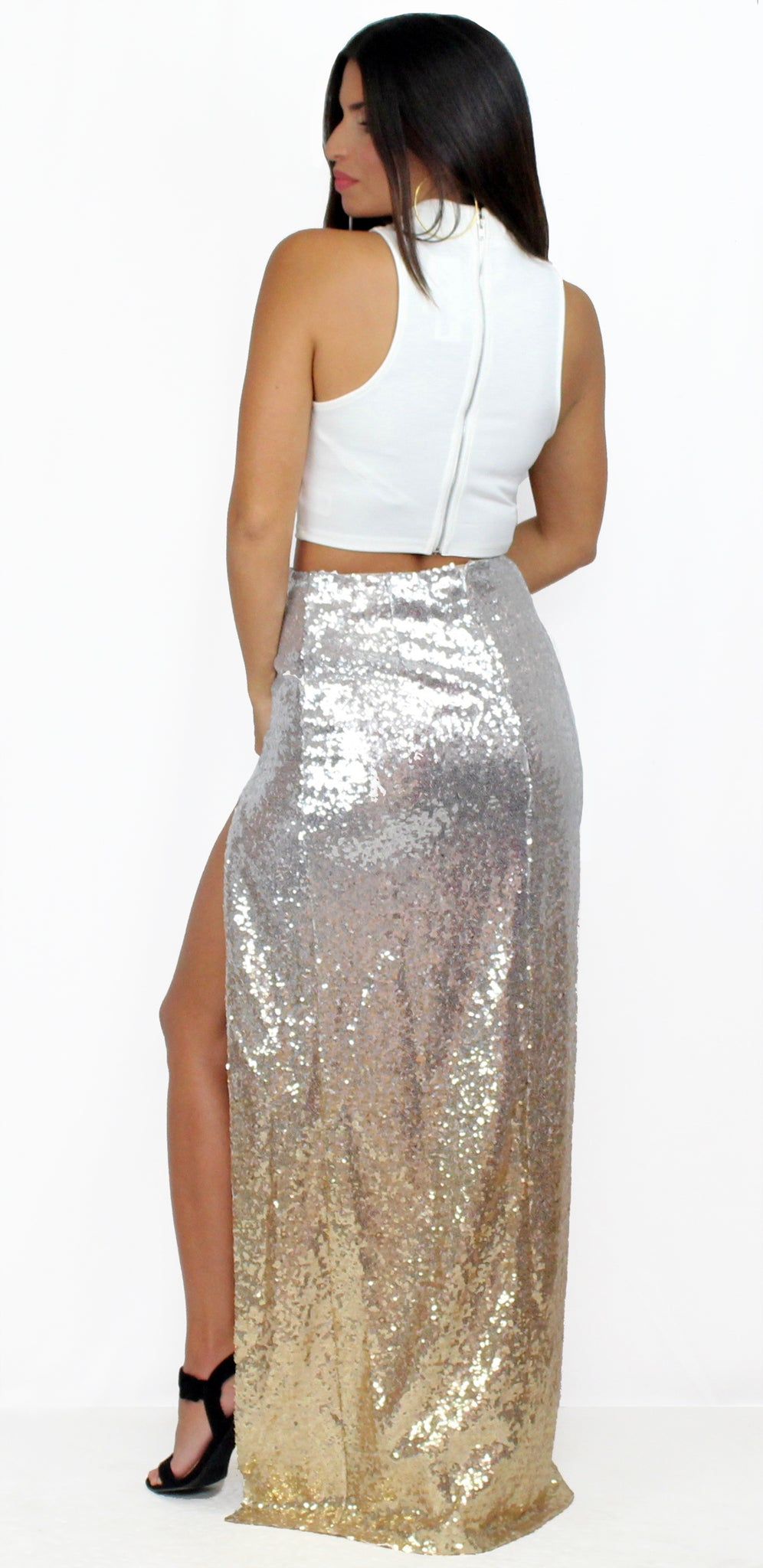 Caught Your Eye Sequins Maxi Two-Piece Set