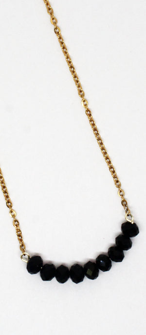 Make You Smile Black Stones Necklace