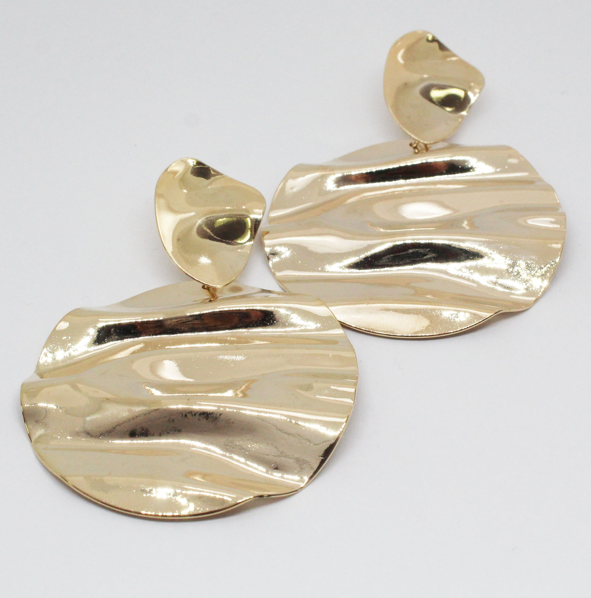 Gold Hammered Metal Round Earrings