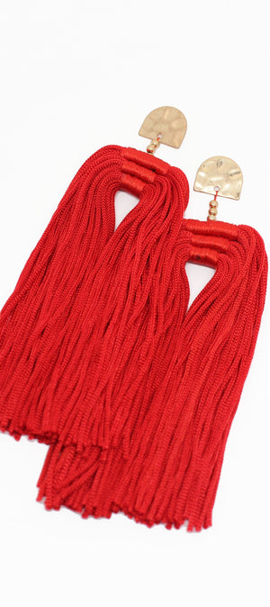 Totally Tantalizing Red Tassel Earrings