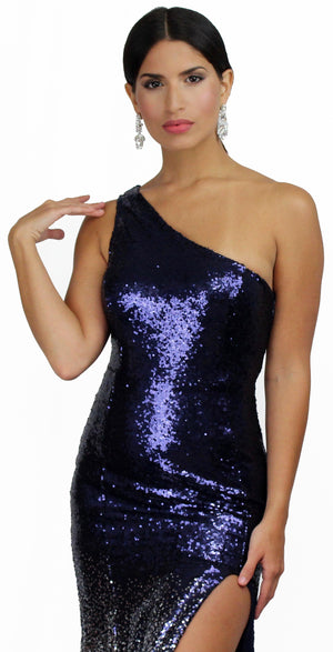 Love the Spotlight Navy & Silver Ombré Sequins Gown