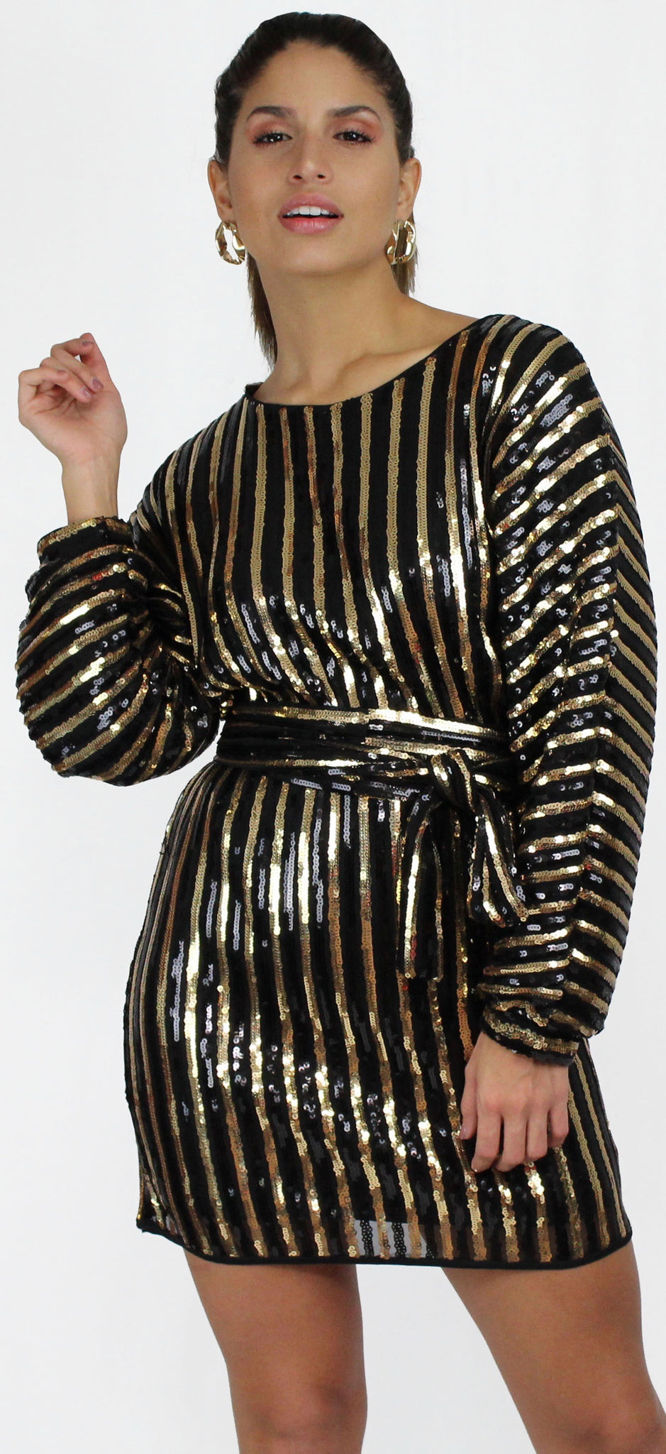 Glowing Steady Black and Gold Stripes Dress