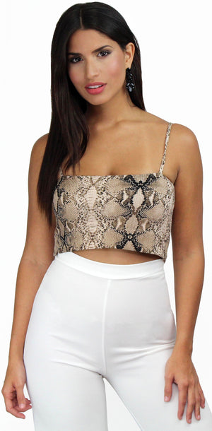 Feeling Natural Snake Print Crop Top