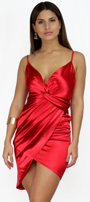 Anything for You Twist Red Satin Dress