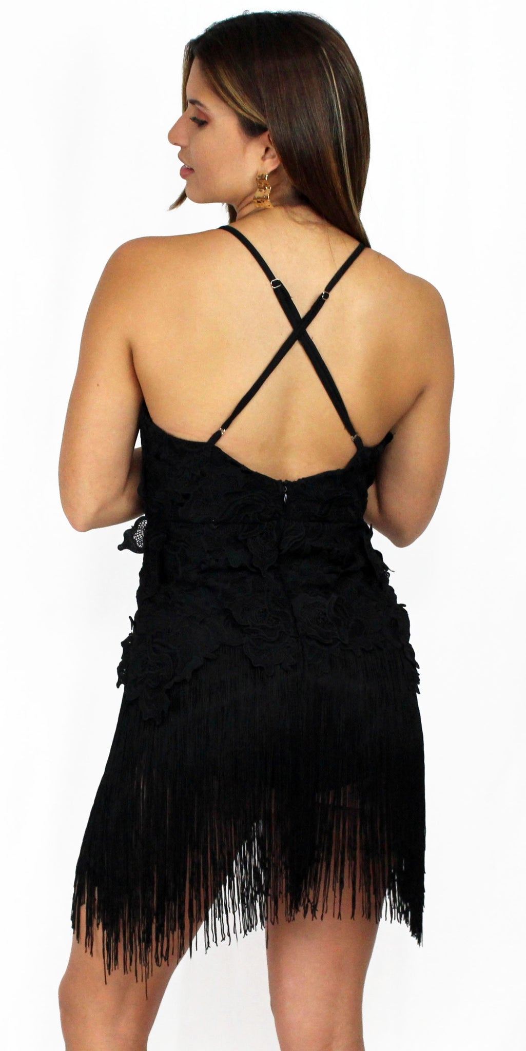Marvelous Muse Fringes & Crochet Black Dress