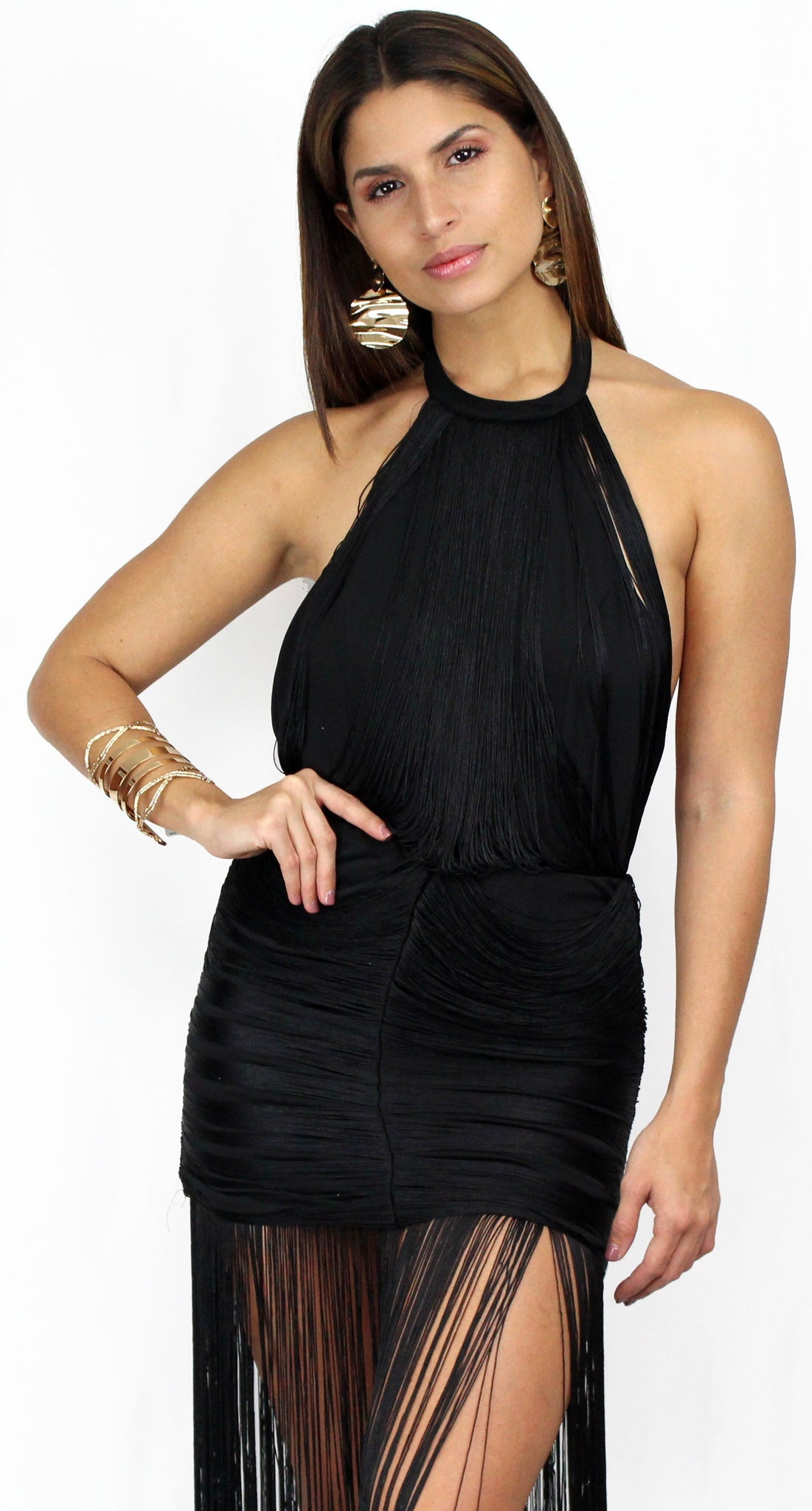 Dramatic Entrance Fringes Black Midi Dress