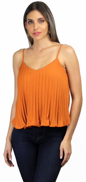 Full of Style Plated Marigold Tank Top
