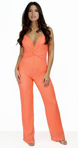 All the Attraction Orange Knitting Jumpsuit