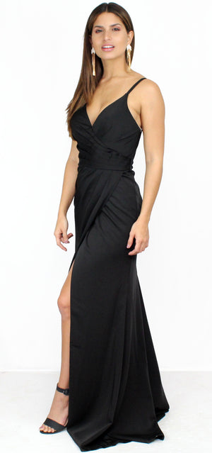Story of a Starry Night Black Satin Gown