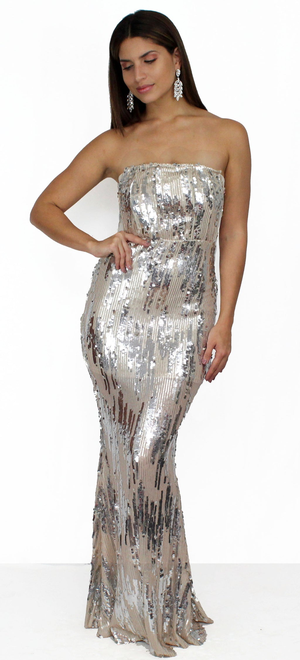 Dress the Population Nude Sequins Gown