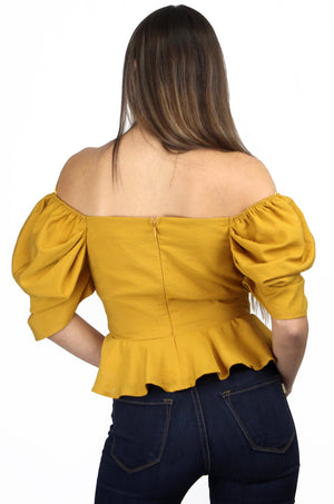 Hold Tight Mustard Puff Sleeves Blouse