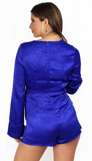 Vivian Royal Sleeves Wrap Satin Romper