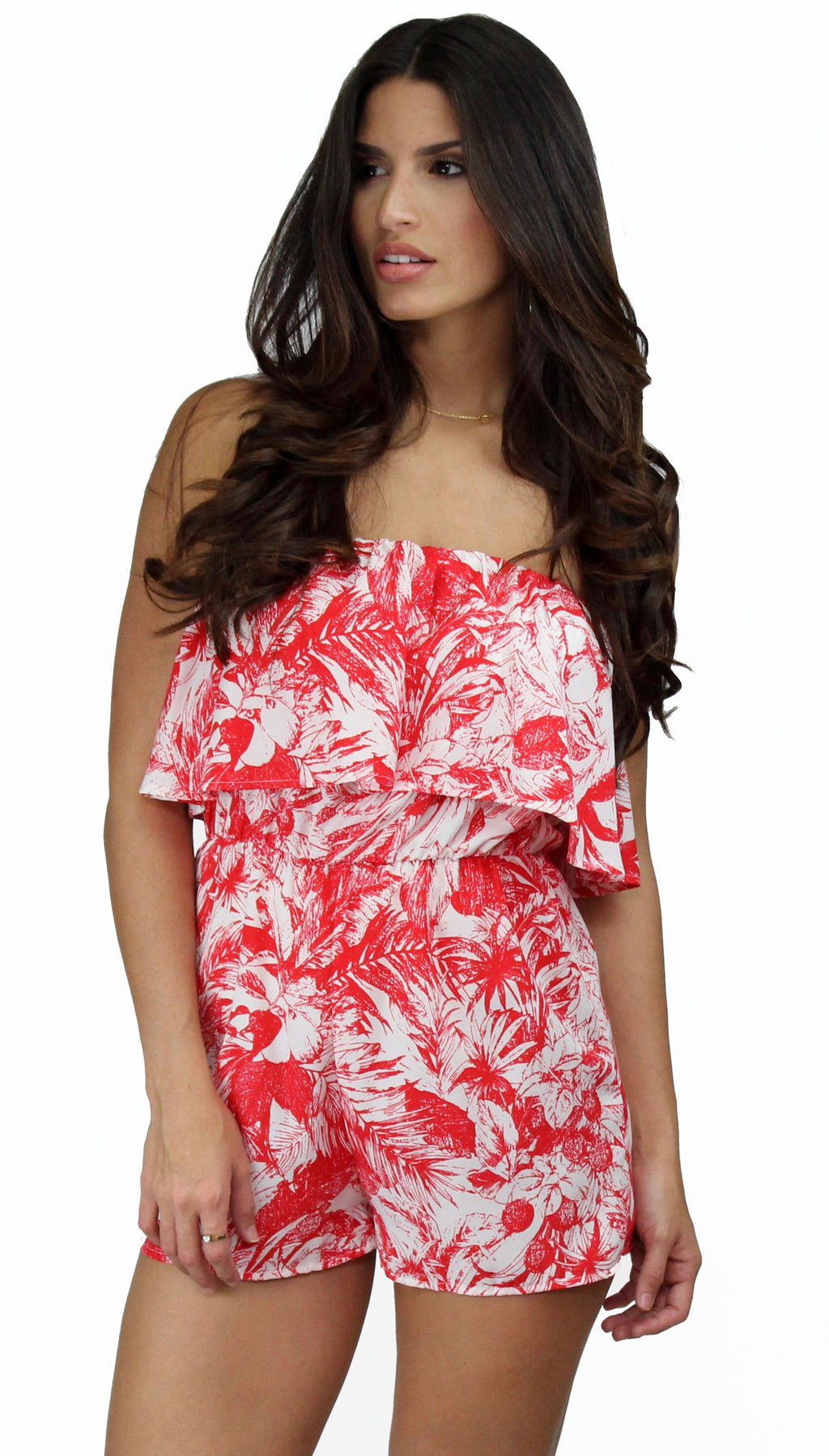 Coastal Living Red Tropical Print Romper