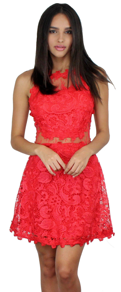 Swoon For You Red Lace Skater Dress