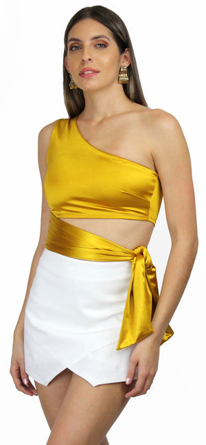 Love to Laugh Satin Gold One-Shoulder Crop Top