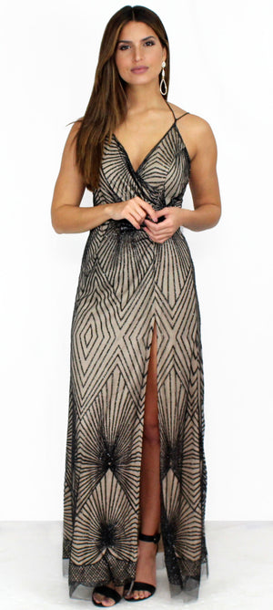 Glisten Up Nude & Black Glitter Formal Dress