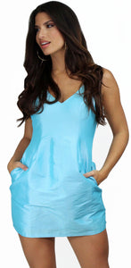 Simply Sultry Light Blue Satin Mini Dress