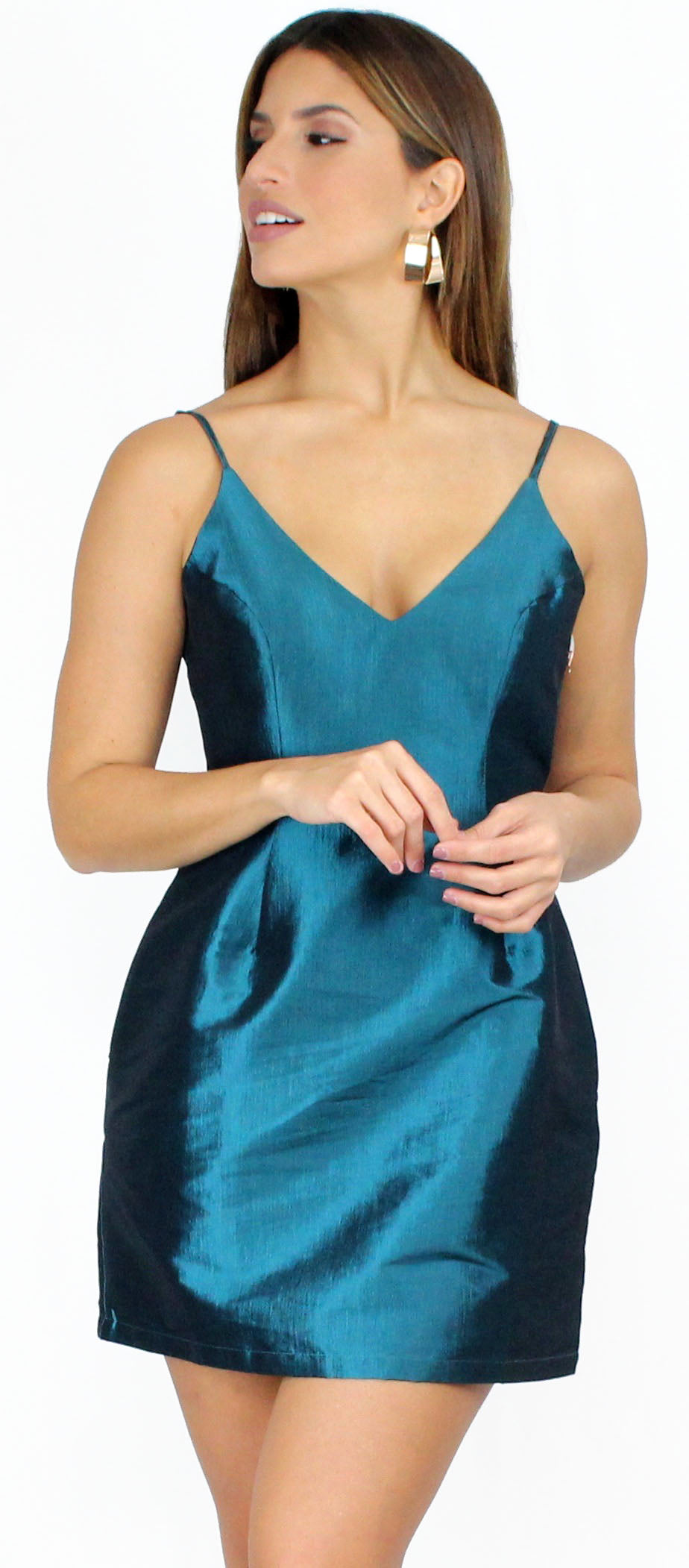 Simply Sultry Teal Satin Mini Dress