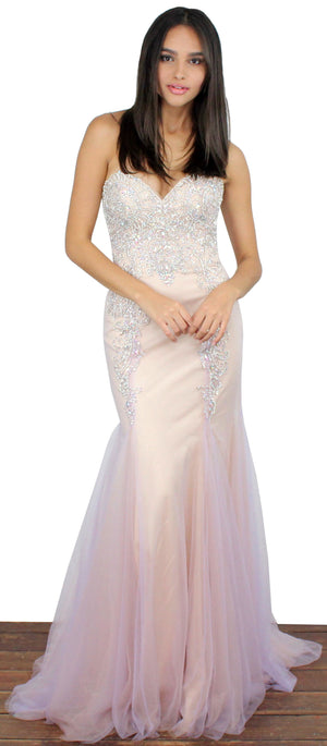 Dream in Lilac Rhinestones Mermaid Gown