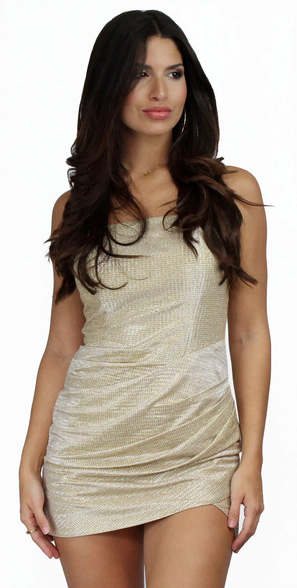 Divine Creation Shimmer Gold Drape Mini Dress