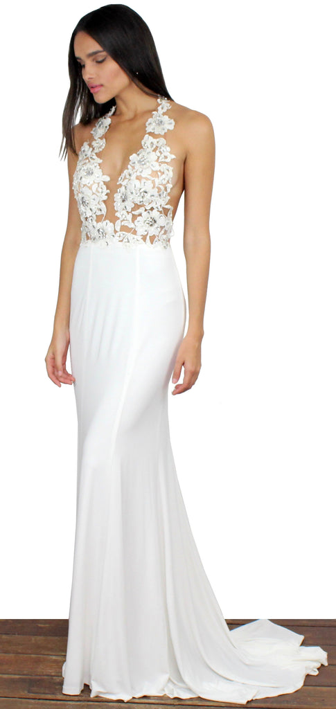 Evening Moon White Halter Gown – Zil boutique