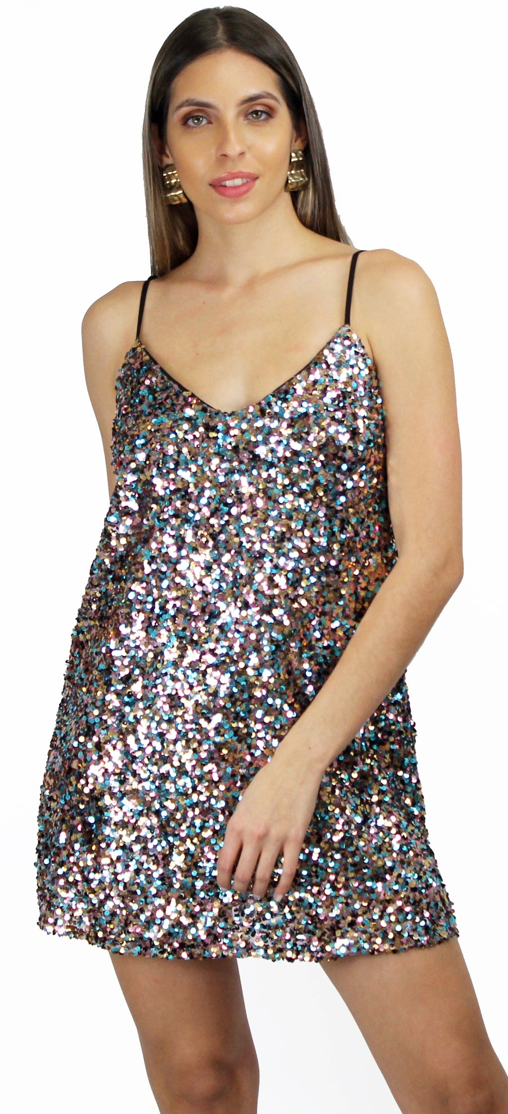Dreaming It Multi Sequins Mini Dress
