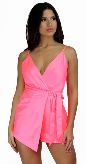 Walk with You Pink Satin Romper