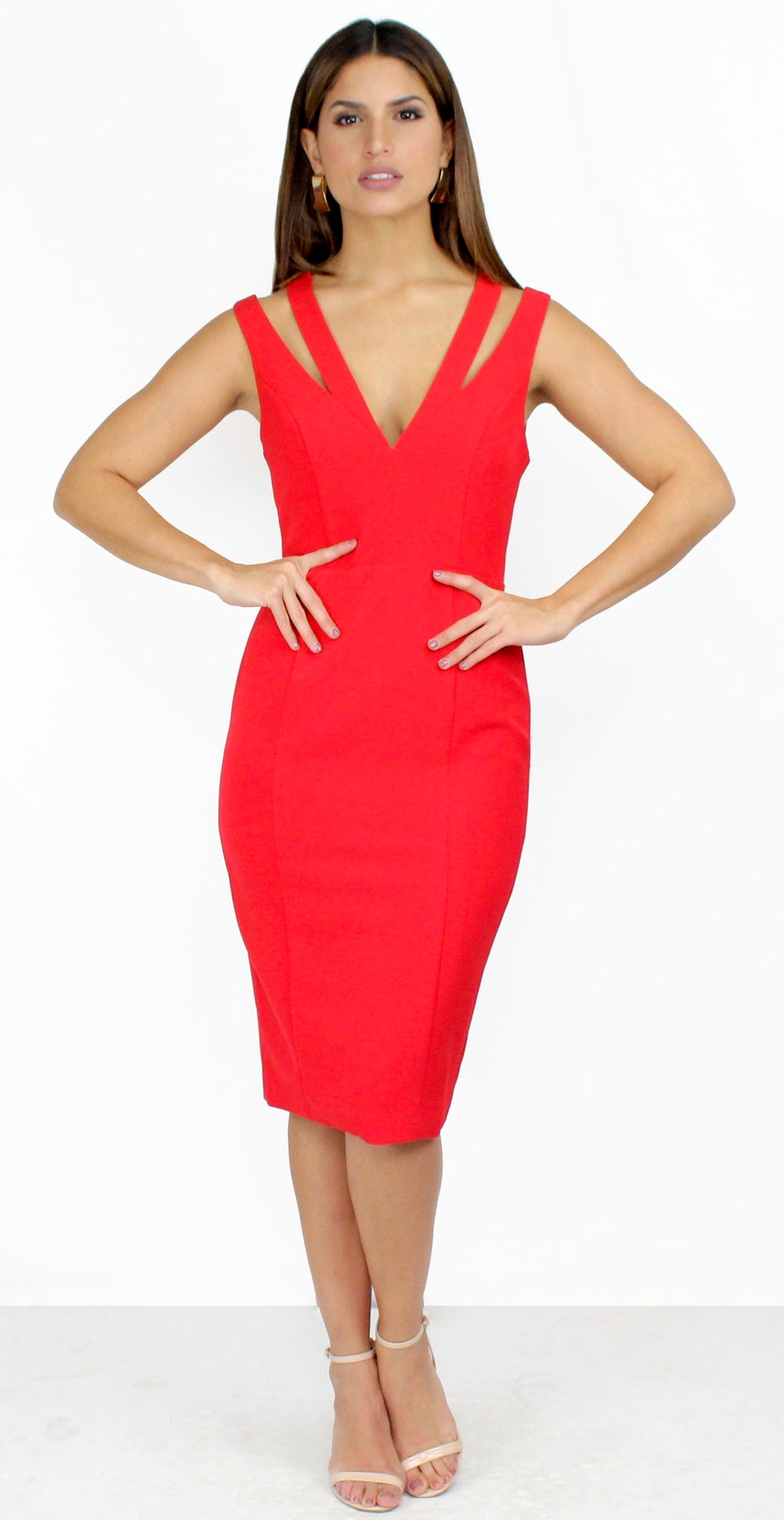 Only Want You Red Bodycon Midi Dress