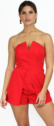 Pieces of Me Red Strapless Romper