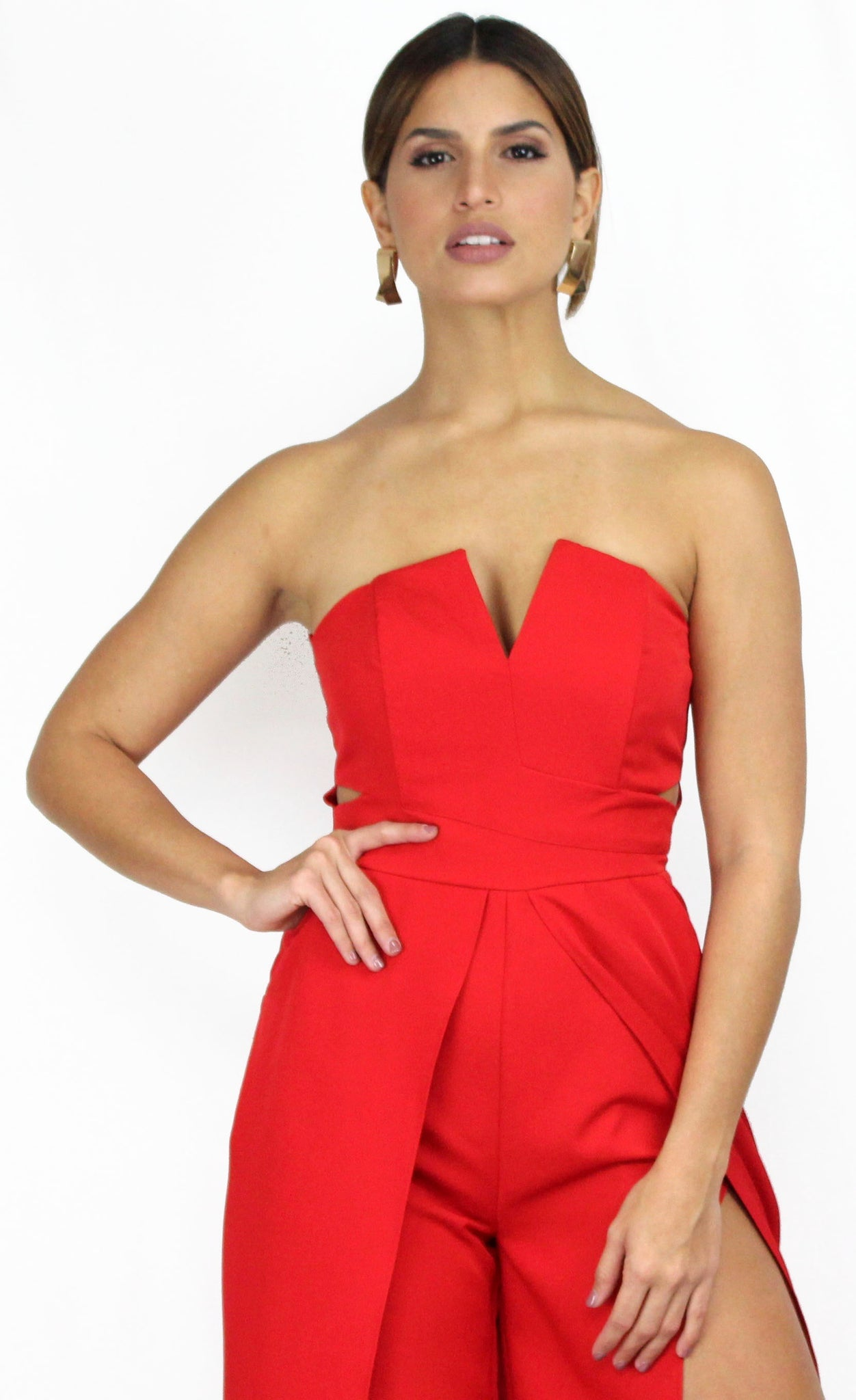 Pieces of Me Red Strapless Jumpsuit