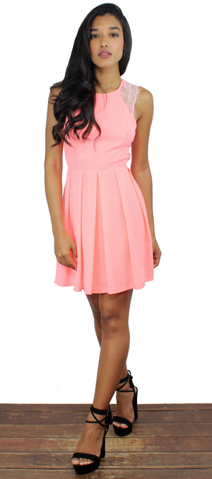 Sought After Neon Coral Lace Dress