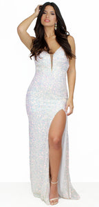 Dazzled Up White Opal Sequins Formal Gown