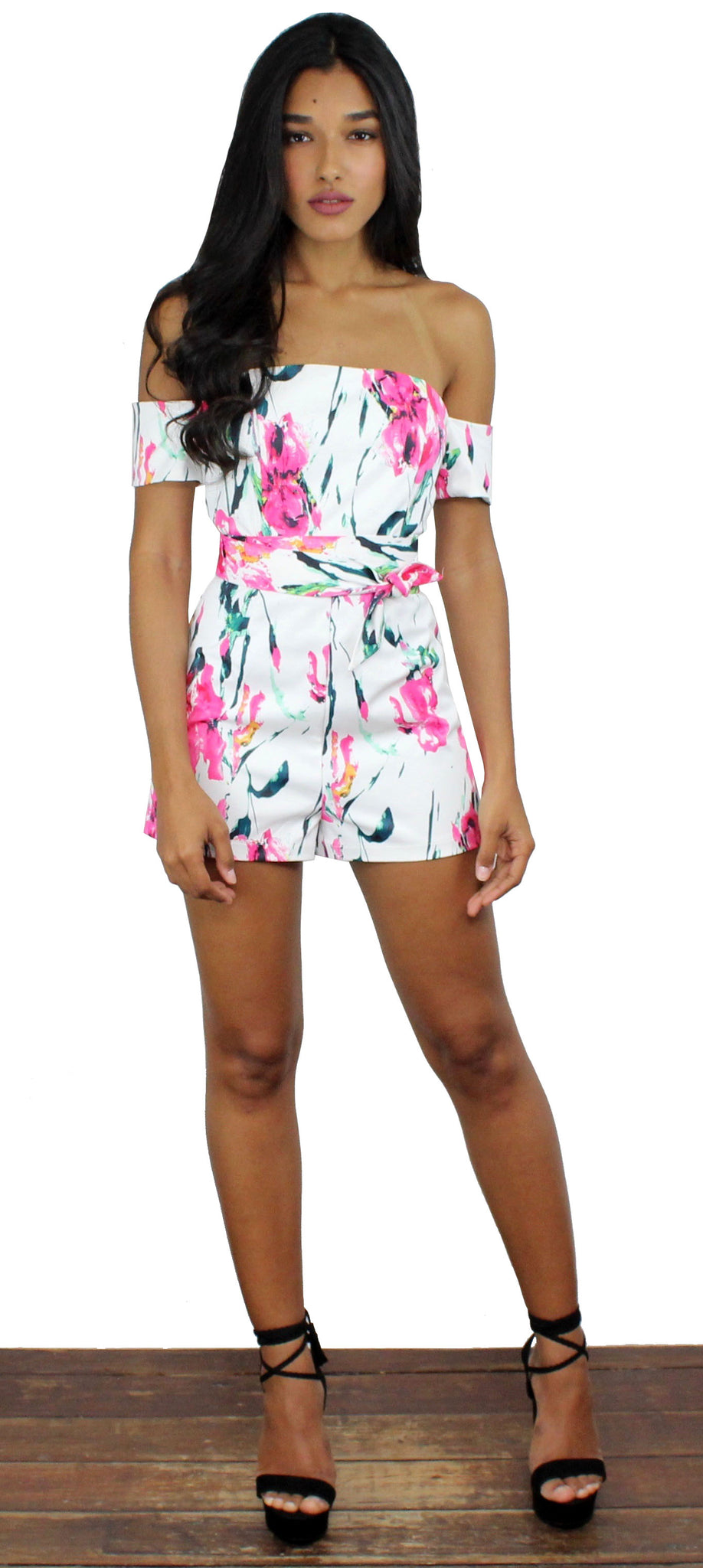 New Romantic Floral Print Romper