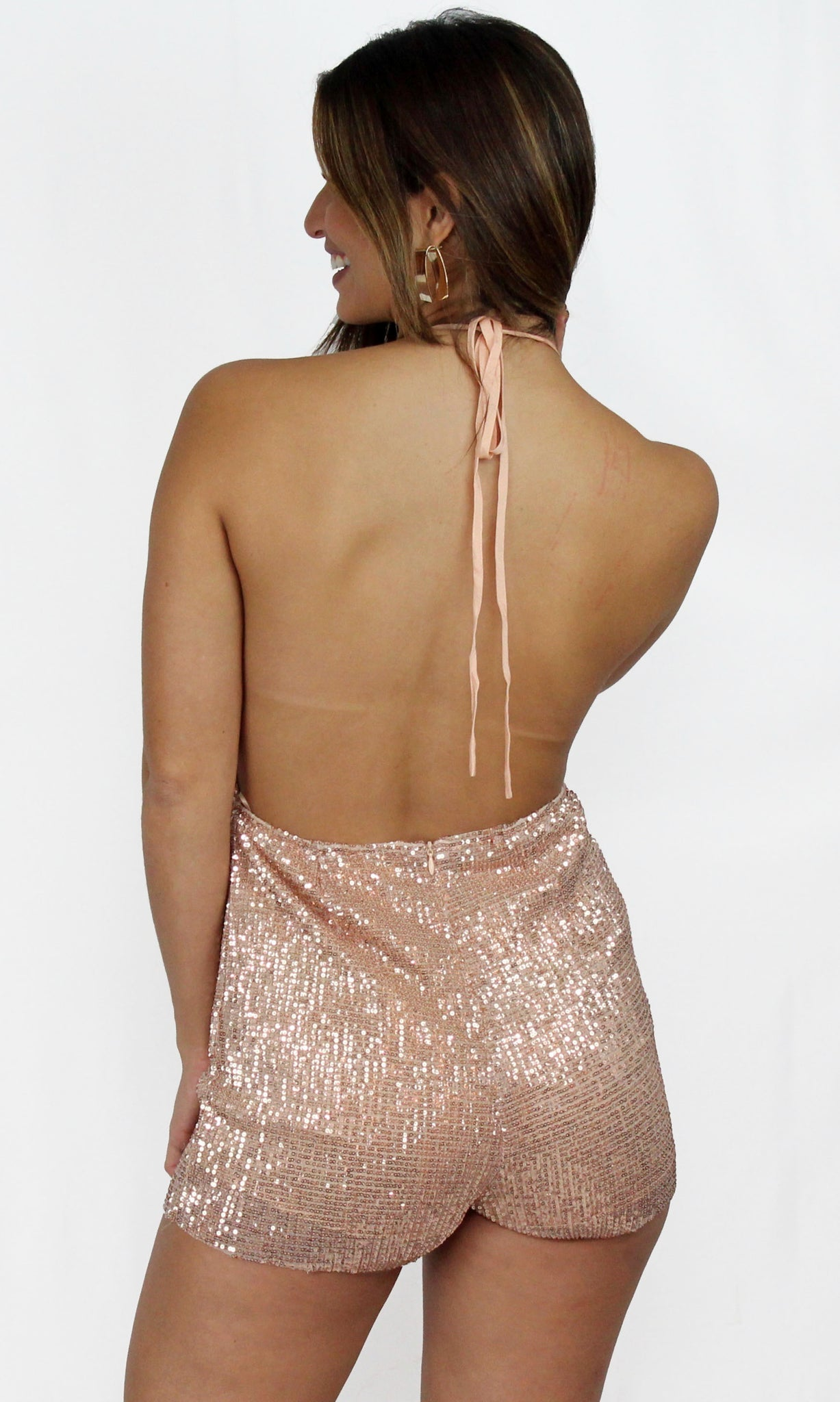 Vivacious Rose Gold Sequins Romper