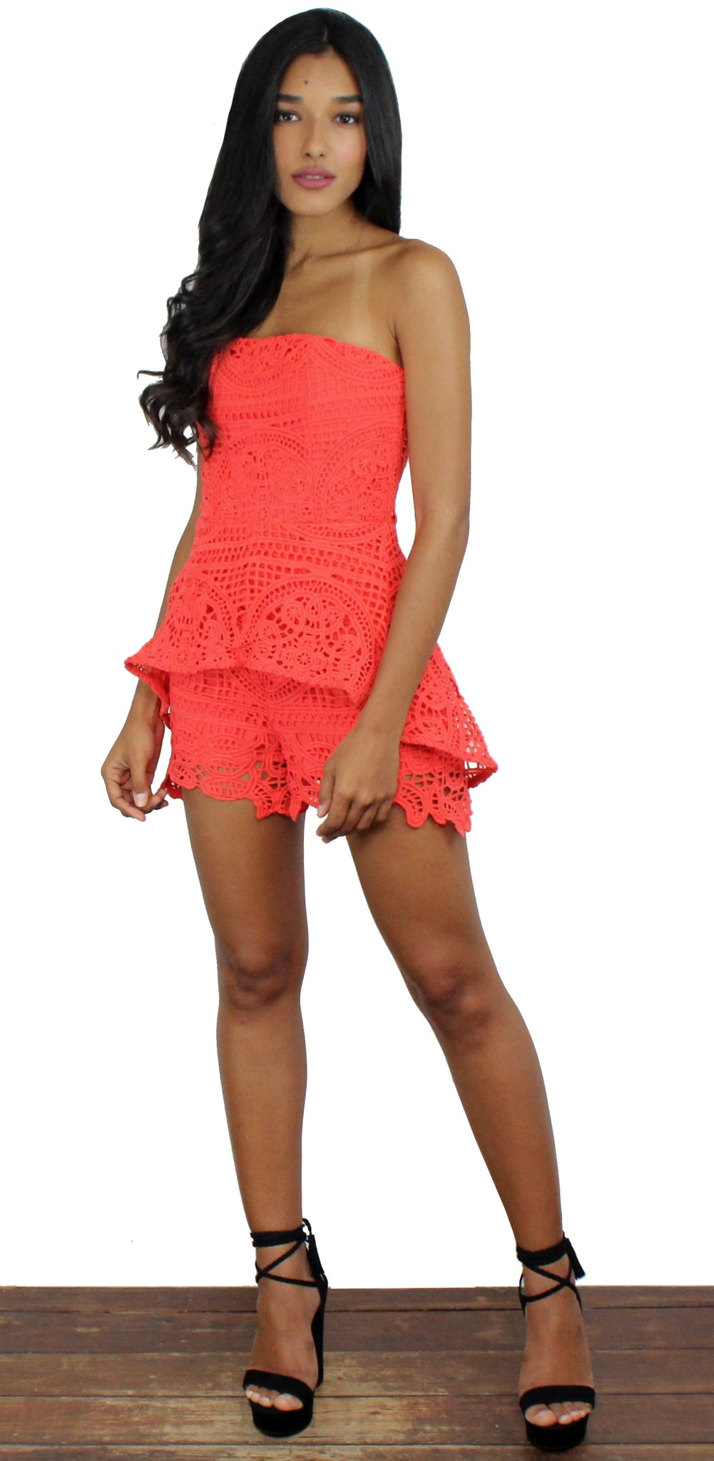 From This Day Forward Coral Crochet Romper