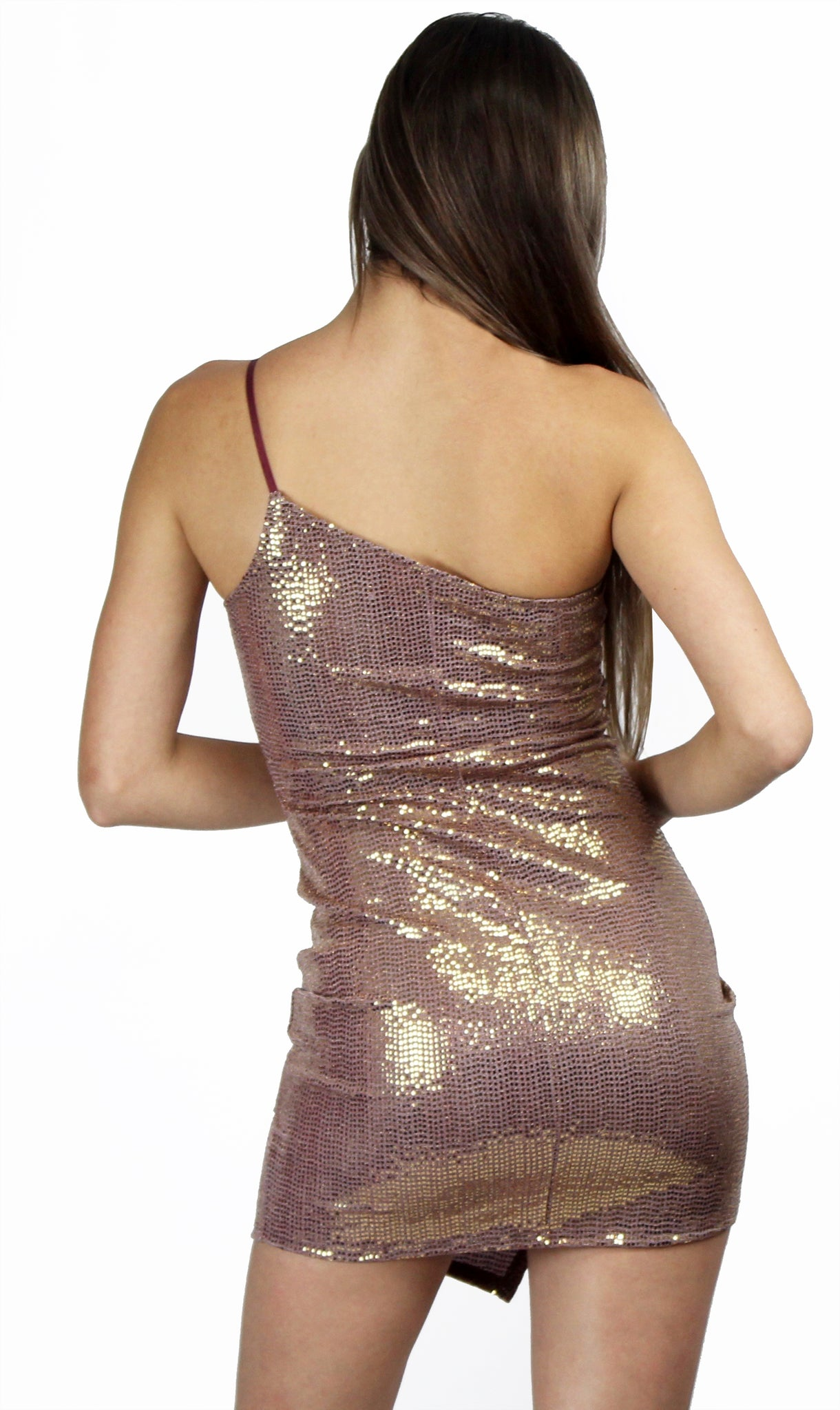 Glitzy Glam Gold Sequins Asymmetrical Dress