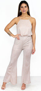 Hype Dream Light Pink Shimmer Jumpsuit