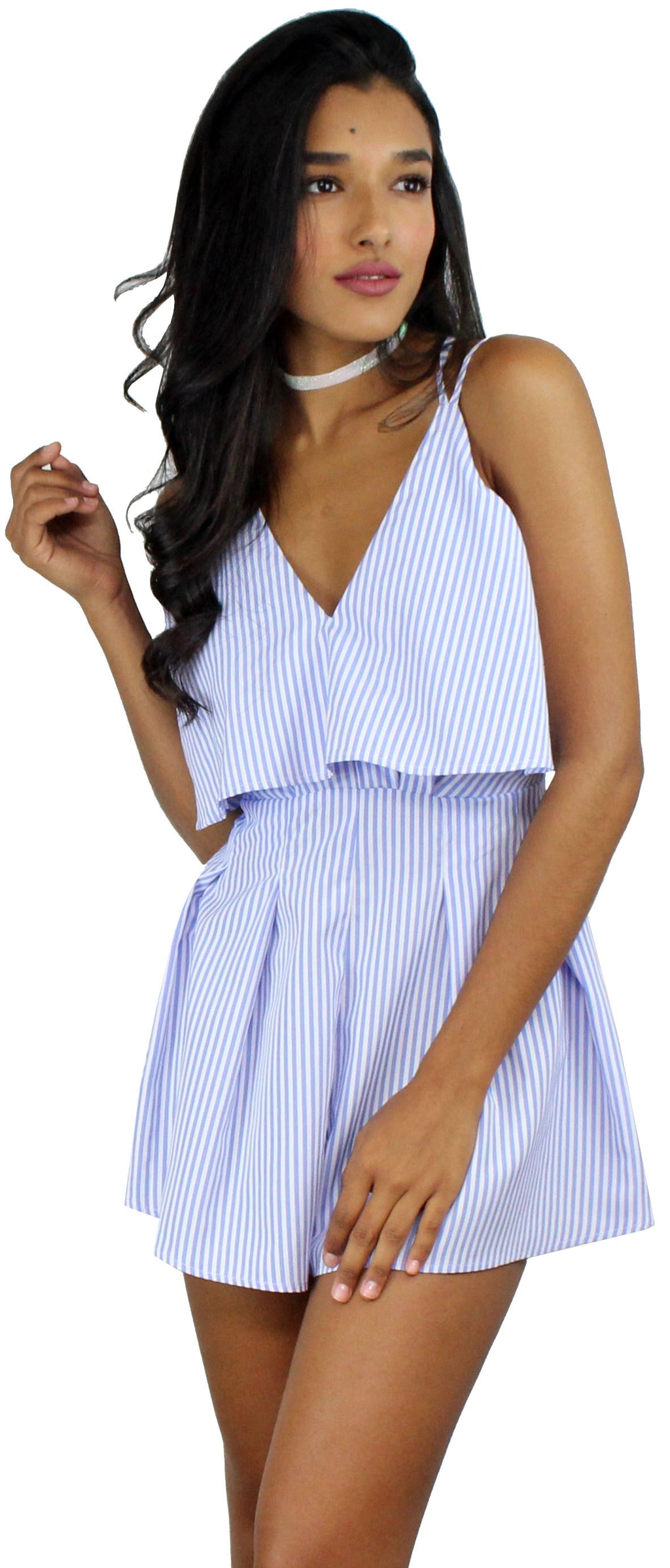 At the Seashore White & Blue Striped Romper