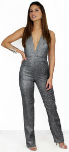 Look of Luxe Black Glitter Jumpsuit