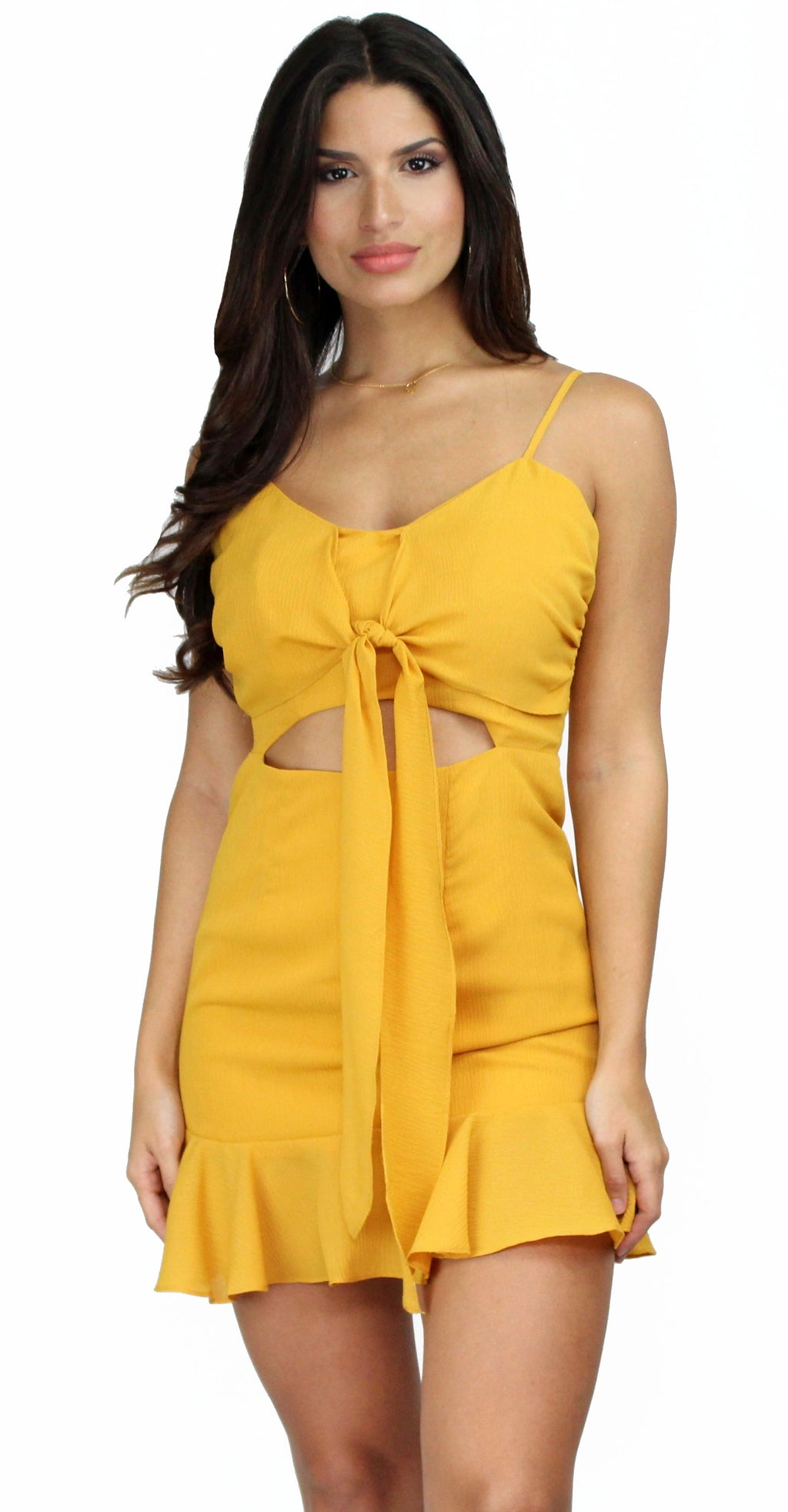Lavish Lifestyle Mustard Ruffle Dress