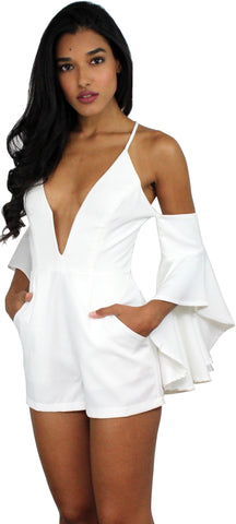 Sensation White Off-the-Shoulder Romper