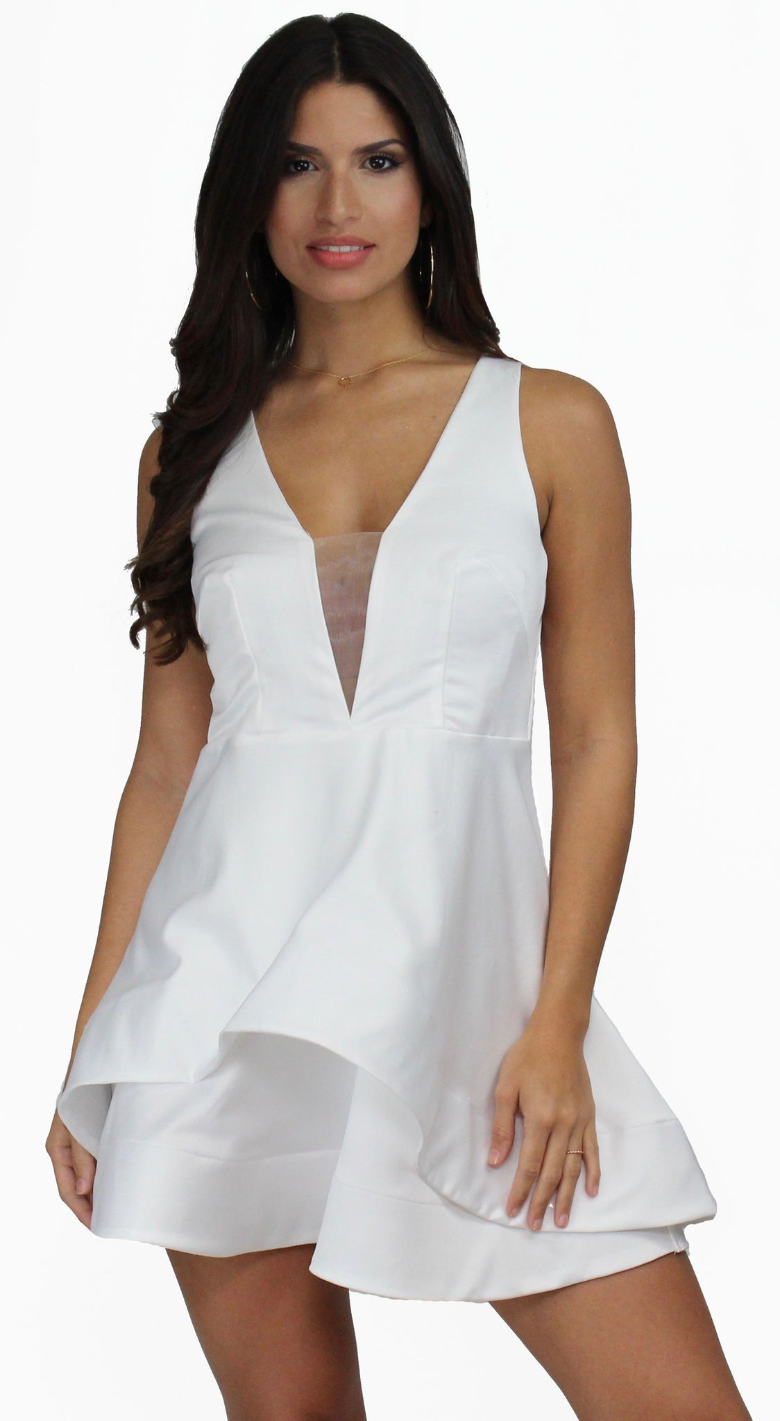 Believe in Love White V-Neck Flare Dress