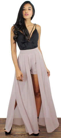 Guide Me Home Gray Pink Maxi Shorts