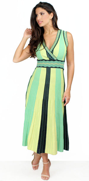 Stripes Perfectly Polish Green Midi Dress